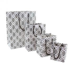 "Glossy Damask Shopping Tote Bags, 7.75"" W x 9.75"" L - 20Pcs"