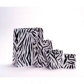 """Glossy Zebra Shopping Tote Bags, 4.75"""" W x 6.75"""" L - 10Pcs"""