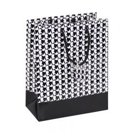 """Glossy Shopping Tote Bag With Houndstooth Design, 7.75"""" W x 9.75"""" L - 20Pcs"""