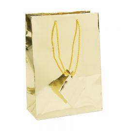 "Glossy Metallic Gold Shopping Tote Bags, 4.75"" W x 6.75"" L - 20Pcs"