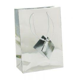 """Glossy Metallic Silver Shopping Tote Bags, 4.75"""" W x 6.75"""" L - 20Pcs"""