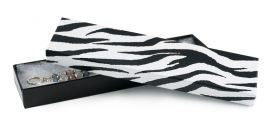 """Cotton Filled Box 8"""" x 2"""" x 1"""" Zebra / 100Pcs"""