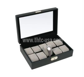 Watch Display Case Deluxe Leather 10Pc Black