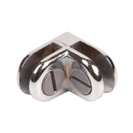 2 Way Connector Metal Cubbie Clip For Glass Displays - Chrome