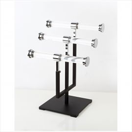 """3 Tier Jewelry Stand, Base: 7"""", Adjustable Upright From 9"""" - 16"""""""