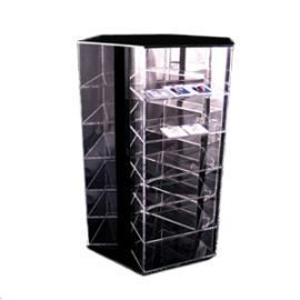 """3 Sided 6 Level Rotating Shelf Display, Holds 144 Crystal Earring Cases, 16""""W X 14""""D X 22""""H"""