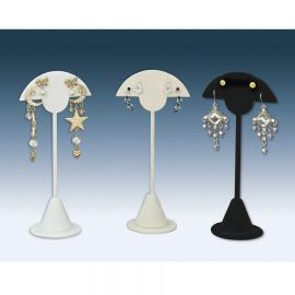 """Earring Stand 5 7/8""""H White - Faux Leather"""