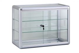 """Counter Top Glass Showcase 24""""(L) x 12""""(W) x 18""""(H) with 2 Shelves"""