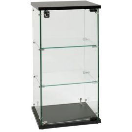 """Frameless Glass Showcase, Counter Top, 13""""(W) X 13""""(D) X 24""""(H), Base Height - 0.7"""", Lock Included"""