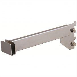 """Rectangular Hangrail Bracket, 12"""", For 1/2"""" Slot On 1"""" Center, Satin Chrome, Pack of 25"""