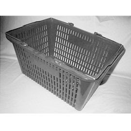 Plastic Shopping Basket, with Double metal wire Handle - Red