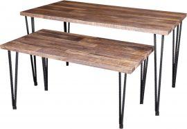 """Small Antique Wood, 42""""(L) X 23""""(W) X 24""""(H), Metal Finish Legs"""
