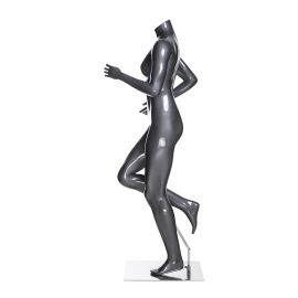 Headless Female Metallic Grey Finished Atheleisure Sports Mannequin with Square Chrome Base
