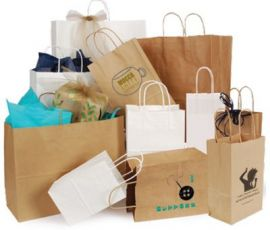 Kraft Serrated Edge Shopping Bags, White Kraft
