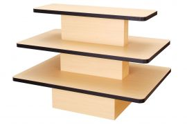 """Maple / Rectangular 3 Tier Table With Black Edge, 60""""(L) X 42""""(W) X 42""""(H) X 3/4""""(T)"""
