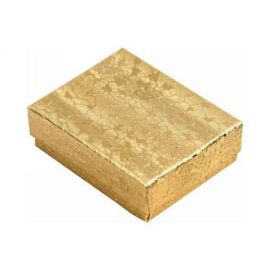 "Cotton Filled Box 3-1/4"" x 3-1/2"" x 1"" Gold / 100Pcs"