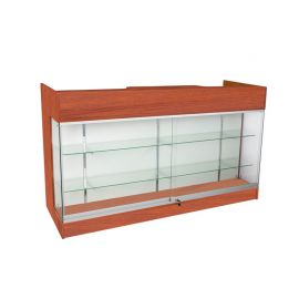 """48""""L One Side Ledgetop Counter with Glass Front Showcase - Black, White, Cherry, Maple, Walnut"""