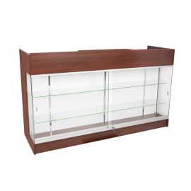 """72""""L Two Sided Ledgetop Counter with Glass Front - Black, White, Cherry, Maple, Walnut"""