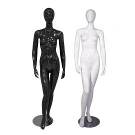 Female Mannequin Glossy Black and White Standing with Right Knee Bent - Black / White