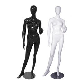 Female Mannequin Glossy Black and White Standing Side Way With Left Leg and Lifting Left Hand - Black, White