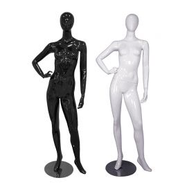 Female Mannequin Glossy Black and White Standing with Right Hand On Hip Left Leg Side Way - Black, White