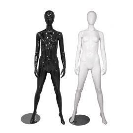 Female Mannequin Glossy Black and White Standing naturally With Legs Opened - Black, White