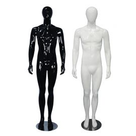 Male Glossy Black Mannequin Standing with Hands By Side Legs Straight - Black, White
