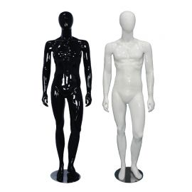 Male Glossy Black Mannequin Standing with Left Knee Bent - Black, White