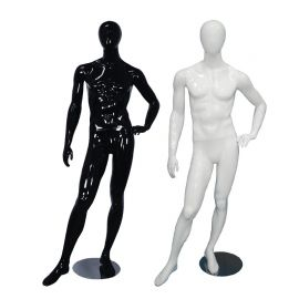 Male Glossy Black Mannequin Standing with Left Leg with Left Hand on Waist - Black, White