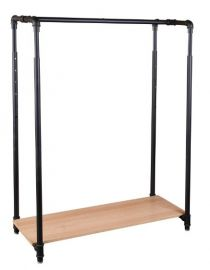 """Pipeline Height Adjustable Garment Rack With Wood Base, Height Adjustable 50 ~ 65""""H X 42""""W 18""""D, Matte Black Finish"""
