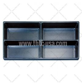 Durable Plastic Tray Liner 4 Compartment / Black