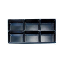Durable Plastic Tray Liner 6 Compartment / Black