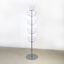 """4 Tier Acrylic Bowl Display, 65 1/2""""(L) X 12""""(D) X 6""""(H) X 1/8""""(T), 16"""" Base, 7"""" X 5 1/2"""" Sign Holder Included"""