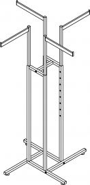 "1"" Sq. Tube 4-Way W/Rectangular Tube Straight Blade Arms, 4- 16 1/2"" X 1 1/2"""