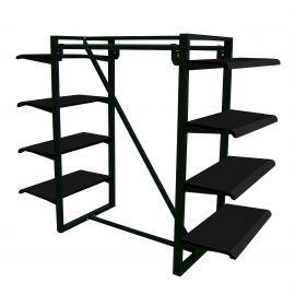"""Parallel Bar Merchandiser w/ Eight 48""""(W) x 12""""(D) Shelves, Matte Black"""