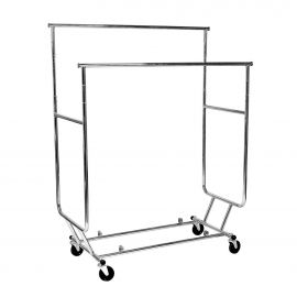 """Heavy Duty Collapsible Double Rolling Rack, 2- 48"""" Hangrail , 4- 12"""" Pull-Out Rods, 22"""" Wide, 4"""" Wheels"""