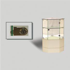 "Frameless / Half Vision Pentagon Corner Case With Swing Door & Lock 18"" Square X 38""(H) - Black, Cherry, Maple, White, Walnut"