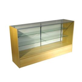 """Full Vision Showcase 60""""(L) X 18""""(W) X 38""""(H) with adjustable 8"""" and 10"""" Glass Shelves"""