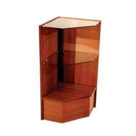 "Pentagonal Corner with Glass Self, 18""(L) X 18""(W) X 38""(H), 2"" Glass Shelves - Black, Cherry, Maple, White, Walnut"
