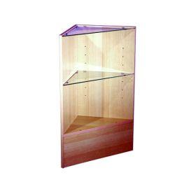 "Triangular Corner Case, 18"" X 18"" X 38""(H), 2 x 1"" Glass Shelves, White, Black, Cherry, Maple, Walnut"