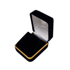 Velvet Metal Earring Box With Gold Trim, 12 pcs/pk, Black