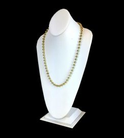 Extra Tall White Faux Leather Necklace Display 18 Inch / White