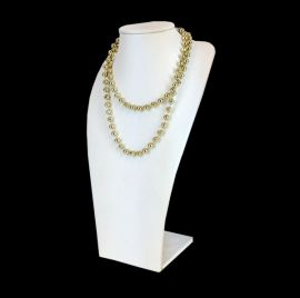 White Faux Leather Neck Form Necklace Display 11 7/8 Inch / White