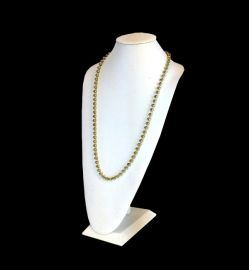Extra Tall White Faux Leather Necklace Display 14 1/2 Inch / White