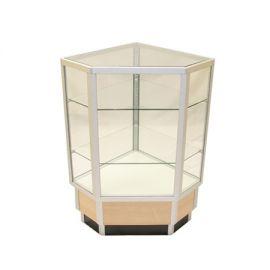 "Full Vision Corner Case with Aluminum corner base protectors, 20""Square X 38""(H) - Maple, Walnut"
