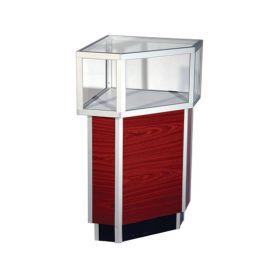 "Jewelry Corner Case with Aluminum corner base protectors, 20""Square X 38""(H) - Walnut, Maple"