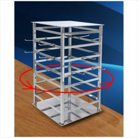 """4 Way Spinning Jewlery Tower, 12""""(L) X 18 1/2""""(H) X 12""""(W), Base: 12"""" X 12"""", 3"""" Hooks Sold Separately"""