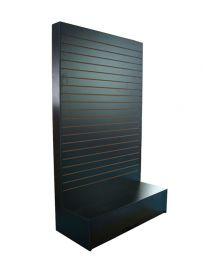 """Slatwall """"L"""" Merchandiser- 48""""(L) X 20""""(W) X 80""""(H)With Black Kick Plate, Black"""