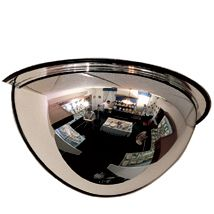 """180 Half Dome Mirror, 1/2 Of 24""""(D), Mounting Clips Included"""