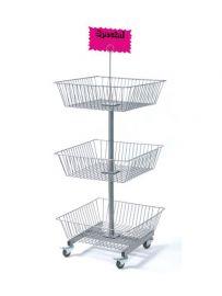 "3-Tier Square Wire Basket Rack, 19 1/2""(L) X 19 1/2""(W) X 50""(H), Basket Size: 19 1/2""(W) X 6""(D), Baskets Do Not Spin, Includes Signholder Clip, 2 Brake & 2 Non-Brake Casters"